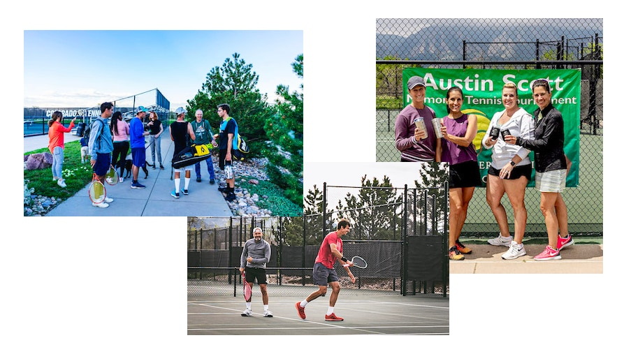 Austin Scott collage of tennis action and trophy shots